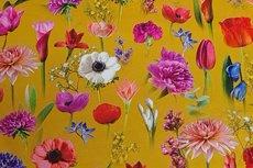 Cotton Jersey Digital Big Tulip Yellow