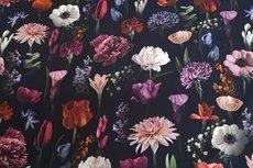 Cotton Jersey Digital Big Tulip Black