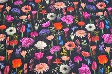 Cotton Jersey Digital Little Tulip Black