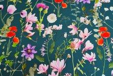 Cotton Jersey Digital Flowers Petrol