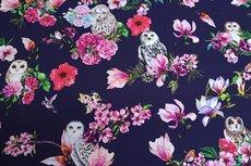 Cotton Jersey Digital Owl Navy