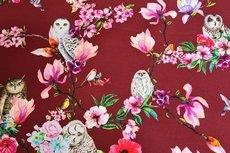 Cotton Jersey Digital Owl Dark Red