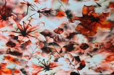 Cotton Jersey Digital Flowers Red 2