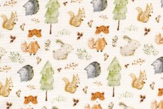 Mousseline Digital Sweet Little Animals Off White