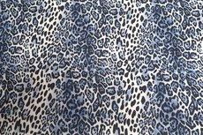Cotton Digital Stretch Satin Leo Blue