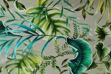 Cotton Digital Stretch Satin Palm Beige