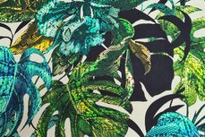 Cotton Digital Stretch Satin Palm Turquoise