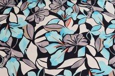 Cotton Digital Stretch Satin Flowers Aqua