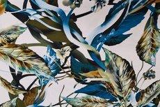 Cotton Digital Stretch Satin Flowers Petrol