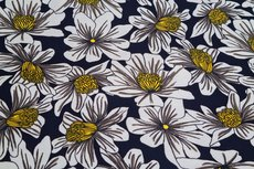 Viscose Jersey Flowers Navy 1