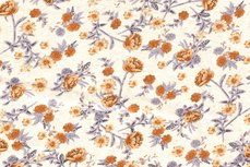Viscose Jersey Flowers Creme/Orange