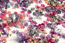 Viscose Jersey Flowers Creme/Fuchsia 1