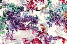 Viscose Jersey Flowers Creme/Fuchsia 3