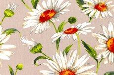 Viscose Crincle Big Flowers Beige 1