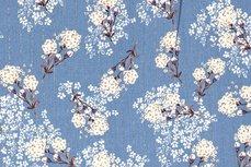 Viscose Crincle Flowers/Stripe Indigo