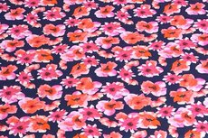 Cotton Jersey Digital Small Flowers Fuchsia