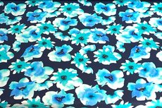 Cotton Jersey Digital Flowers Aqua
