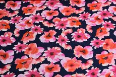 Cotton Jersey Digital Flowers Fuchsia1
