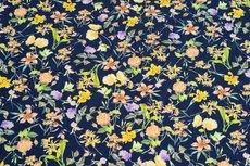 Viscose Digital Flowers Twill Navy