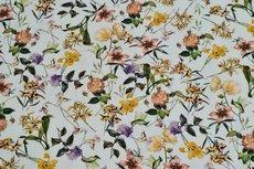 Viscose Digital Flowers Twill Off White
