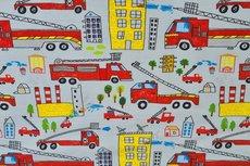 Cotton Jersey Digital Fire Truck Light Grey