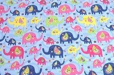 Cotton Jersey Elephant Baby Blue