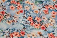 Viscose Digital Flowers Light Blue