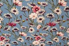 Viscose Jersey Flowers Indigo