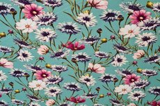 Viscose Jersey Flowers Mint