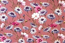 Viscose Jersey Flowers Old Pink