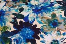 Viscose Jersey Digital Flowers Kobalt