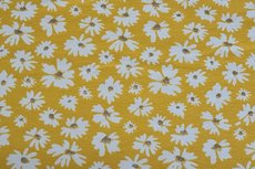 Cotton Jersey Foil Flower Yellow