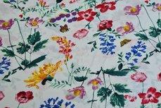 Georgette Digital Flowers White
