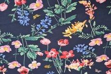 Georgette Digital Flowers Navy