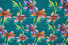 Cotton Jersey Digital Flowers Petrol 1