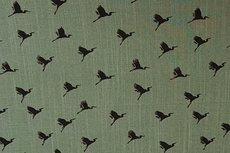 Viscose Stretch woven Birds Khaki