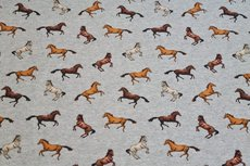 French Terry Digital Horses Grey