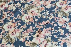 Cotton Jersey Digital Big Flowers Blue 4