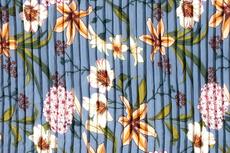 Plissé Chiffon Flowers Blue