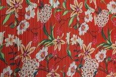 Plissé Chiffon Flowers Red