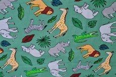 Cotton Printed Animals Green