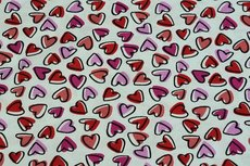 Cotton Printed Hearts Pink/Red