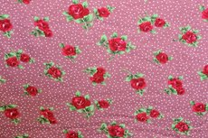 Viscose Jersey Little Flowers Dots Old Pink