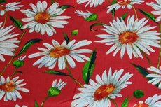 Viscose Crincle Big Flowers Red 1