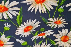 Viscose Crincle Big Flowers Navy 1