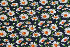 Viscose Crincle Little Flowers Navy 1