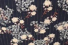 Viscose Crincle Flowers/Stripe Navy