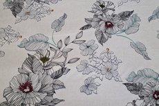 Linnen Viscose Flowers Beige