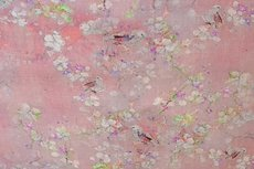 Linnen Viscose Digital Flower&Bird  Old Pink