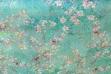 Linnen Viscose Digital Flower&Bird Mint Green